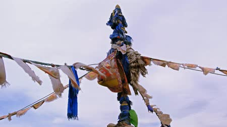 Obo a place of worship for local spirits in West Mongolia Wideo