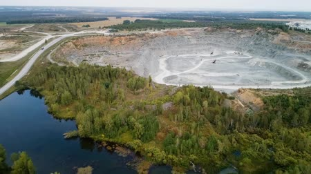 Aerial view of the large industrial quarry.