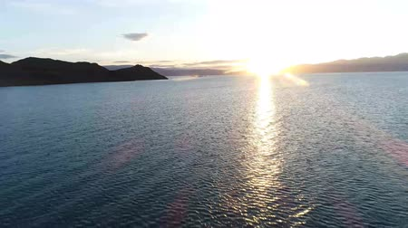 Sunset on Uureg Nuur Lake, saline lake in western Mongolia Wideo