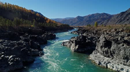 Low flight over fresh cold mountain river. Altai, Katun river.