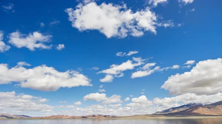 Clouds moving ower Mongolian lake Uureg Nuur Stock Footage