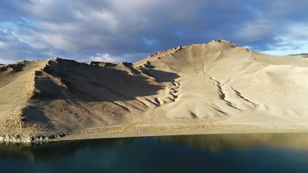 Aerial view of a dry mountains landscape in Mongolia. Tolbonuur Western Mongolia
