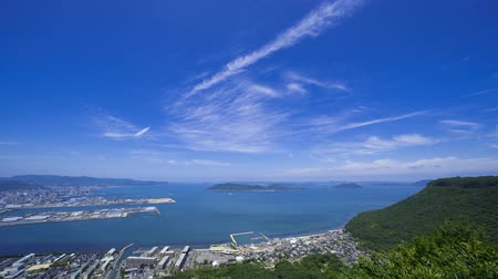 vnitrozemí : Takamatsu Cityscape and the Seto Inland Sea (Kagawa Prefecture, Yashima). Timelapse