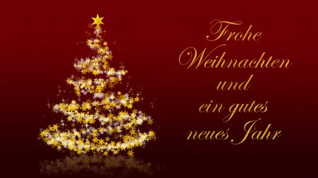 мерцать : Christmas tree with glittering stars on red background with seasons greetings, german version; Part of a multilingual series, approx. 25 sec. Стоковые видеозаписи