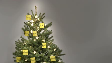 anahtar kelime : Stop motion of 25 motivating business keywords and fairy lights self-finishing a christmas tree in front of a neutral gray background with copy space, nobody, approx. 30 sec