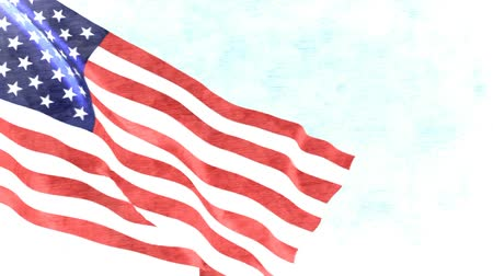 amerikan : American flag background. USA flag waiving in the wind. Sketch drawing style. 1920x1080