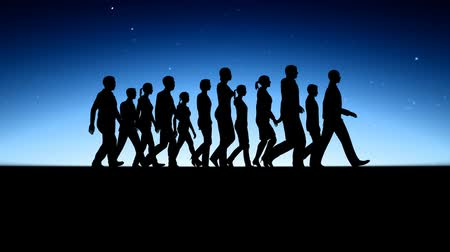figuras : People walking silhouettes. Team spirit. High definition 1920x1080.