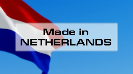 голландский : Made in Netherlands. Dutch made. Product of Holland concept Стоковые видеозаписи