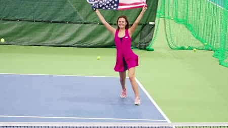 tennis stadium : Flag of the United States flag slow motion