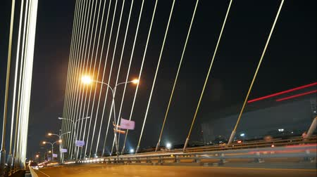bridge man made structure : Time lapse of traffic on suspension bridge