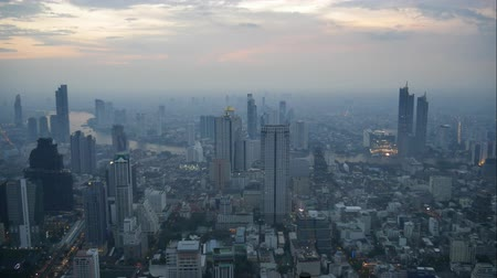 Time lapse of twilight of cityscape in Bangkok