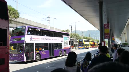 Hong Kong, Hong Kong S.A.R.-June 3, 2017: buses at the Hong Kong airport. Vídeos