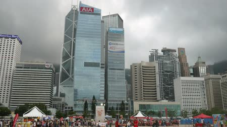 Hong Kong, Hong Kong S.A.R.-June 3, 2017: skyscrapers and people in Hong Kong