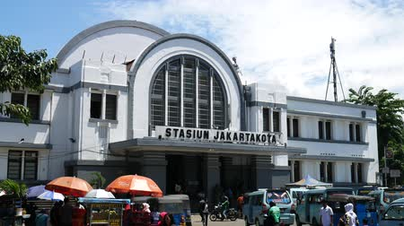 View of Main railway station, Jakarta Kota Station located in the Old Town area. It is a main railway station in Jakarta. Vídeos