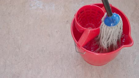 tření : white cotton mop is rinsing in bucket and cleans pink linoleum floor