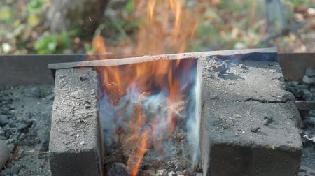 firebox : burning coal for heating Stock Footage