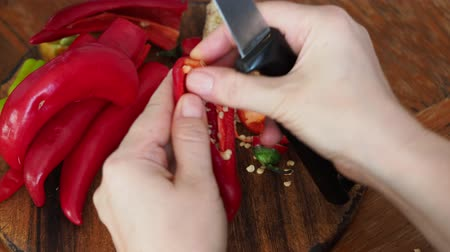 chilli sauce : cooking of Caucasian hot spicy seasoning Adjika - Stock Footage