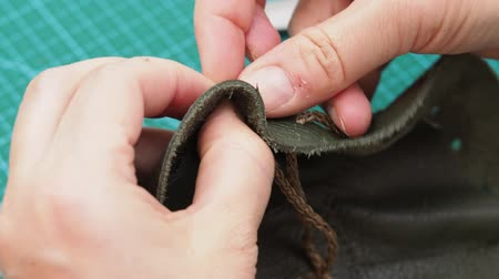 drawstring bag : workshop for making jewelry bag for women - craftsman inserts in the sewn pouch