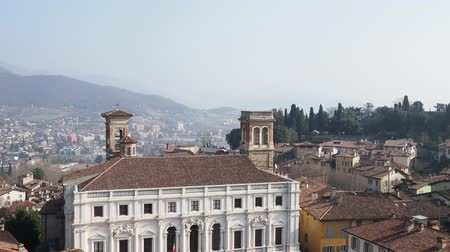 panoramic view of Bergamo city from Campanone (Torre civica) bell tower Стоковые видеозаписи