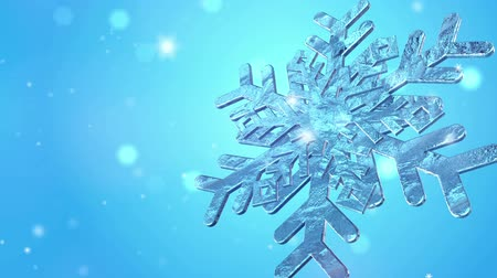 Big Christmas Snowflake With Snow Particles On Blue Background.