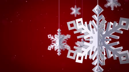Clean Snowflakes 3d  on red background.