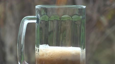 beer tap : The beer stream fills a mug a close up.