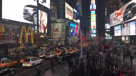 destaque : NEW YORK CITY, USA - OCT 2: Times Square Time lapse, featured with Taxi Cabs, Shops and animated LED signs, is a symbol of New York City and the United States, October 2, 2016