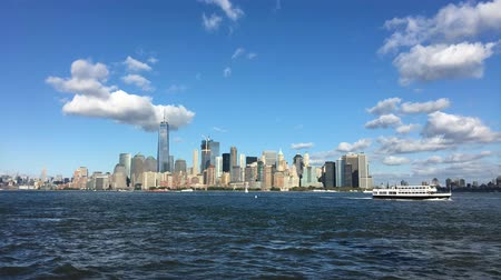 remember : New York City, USA - October 10, 2016: New York panorama time lapse from Uptown to Downtown at noon, with a Census-estimated population of over 8.4 million in 2013 is the most populous city in the US