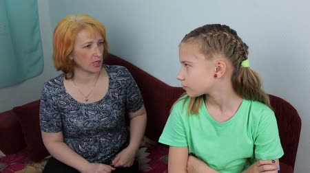 disobedient : Conflict in the family between mother and daughter Stock Footage