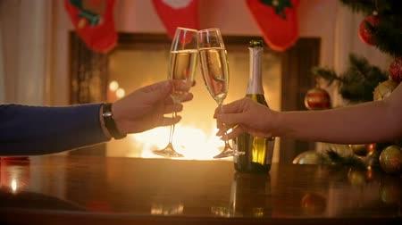 şömine : Closeup of man and woman sitting at fireplace and drinking champagne at Christmas eve Stok Video