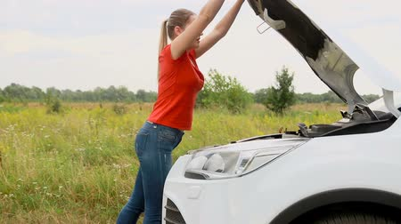 aşağı bakıyor : Young upset woman opens hood of broken car at field and looking at the engine Stok Video
