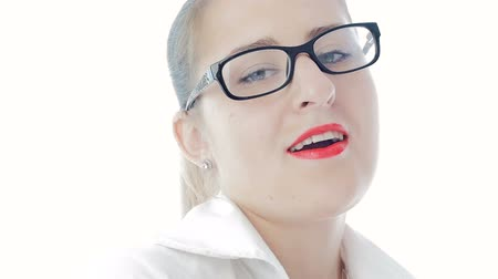 sedutor : Slow motion footage of sexy elegant woman with red lipstick wearing eyeglasses
