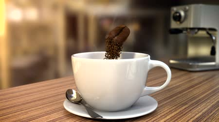 americano : 3D CGI video of coffee bean slowly flying over cup on table at cafe and crumbling in instant coffee pieces. Steam flowing from cup of coffee