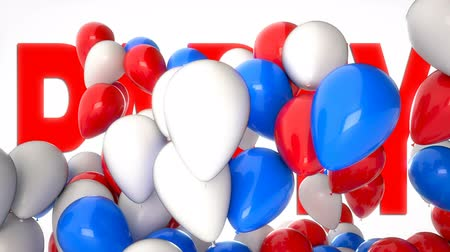 tebrik kartı : 3D CGI video of colorful balloons flying over big word Party. Perfect animation for greetings and holidays