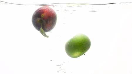 cidra : Closeup slow motion video of fresh green and red apple falling in cold water against white background