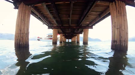 4k video under the old wwoden pier at sea