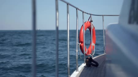 afloat : Board boat afloat with a lifeline