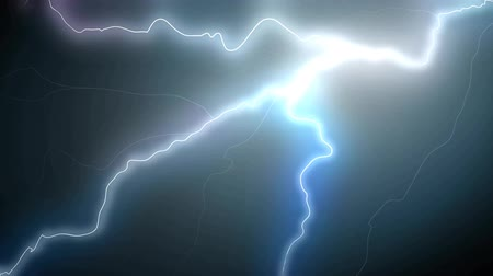 electric strike : Set of different beautiful realistic lightning strikes and flashes on black background. 4K