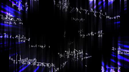 matematiksel : Handwritten formulas spinning in 3D space on a bright background. Stok Video