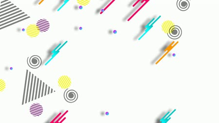 futurismus : Bright modern abstract Memphis style retro background with multicolored simple geometric shapes on white background. Seamless loop