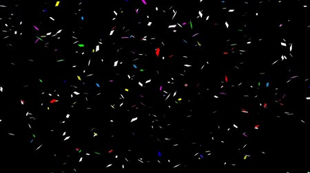 flama : Multicolored confetti on a black background. Looped animation Stok Video