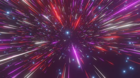 speed tunnel : Abstract hyperspace background. Speed of light, neon glowing rays and stars in motion. Moving through stars. 4k Seamless loop