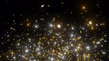 Golden confetti stars falling and Shine. Looped 4K animation