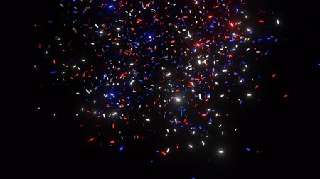 Blue, red and white confetti shoots and falls down on the black screen. Bright shimmer. 3D animation 4K