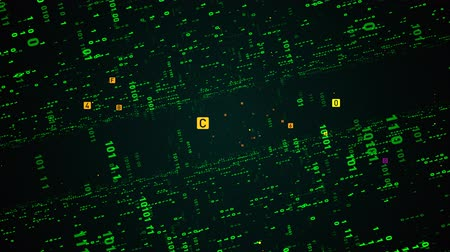Digital fly binary code background loop. Data binary code network. 4K loop animation. Green version.