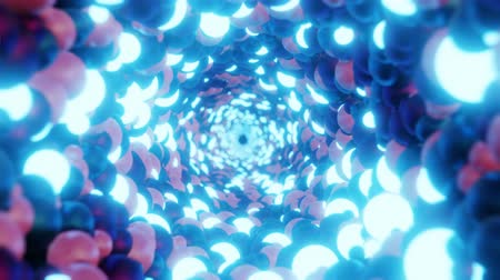 przyszłość : Abstract corridor of metal and glowing neon balls. Seamless 4K looped animation.