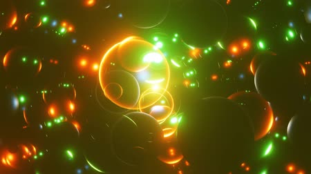 Neon background. Neon transparent balls move in space and Shine. 4K loop animation.