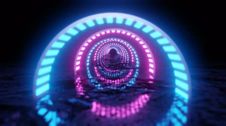 VJ Loop neon digital tunnel. Abstract fluorescent background. Neon background. 4K animation loop. Stock Footage