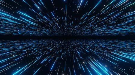 Abstract hyperspace background. Speed of light, neon glowing rays and stars in motion with space for logo or text. Blue version. Moving through stars. 4k Seamless loop