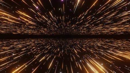 Abstract hyperspace background. Speed of light, neon glowing rays and stars in motion with space for logo or text. Orange version. Moving through stars. 4k Seamless loop